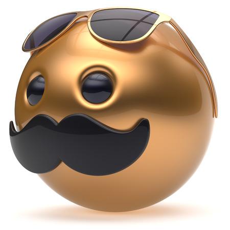 payasos caricatura: bigote cara de dibujos animados emoticon feliz de la bola alegre guapo persona negro gafas de sol de oro caricatura. gafas de risa alegre diversión esfera positiva avatar carácter sonriente. 3d aislado