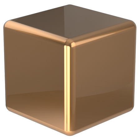 basic figure: Cube geometric shape dice block basic box solid square brick figure simple minimalistic element single yellow golden shiny blank object. 3d render isolated