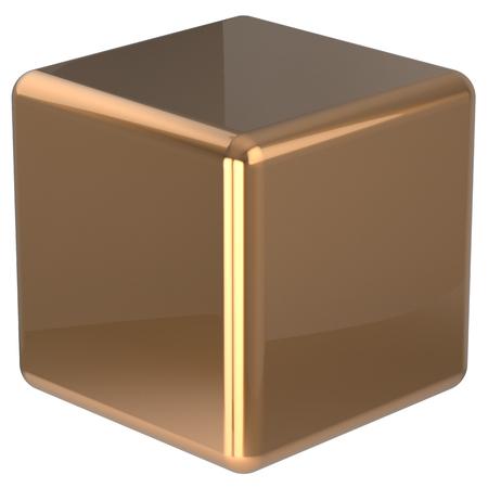 solid figure: Cube geometriche dadi forma bloccano scatola base solida figura quadrata in mattoni semplice elemento minimalista singolo giallo oggetto vuoto lucido oro. Rendering 3D isolato