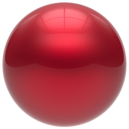 isolated object: Sphere button round ball red geometric shape basic circle solid figure simple minimalistic element single drop shiny glossy sparkling object blank balloon atom icon. 3d render isolated