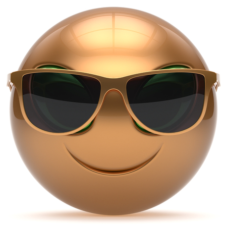 invader: Smiley alien face cartoon cute sunglasses head emoticon monster ball golden gold avatar. Cheerful funny smile invader person character toy laughing eyes joy icon concept. 3d render isolated