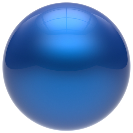 basic figure: Sphere button round ball blue geometric shape basic circle solid figure simple minimalistic element single drop cyan shiny glossy sparkling object blank balloon atom icon. 3d render isolated Stock Photo