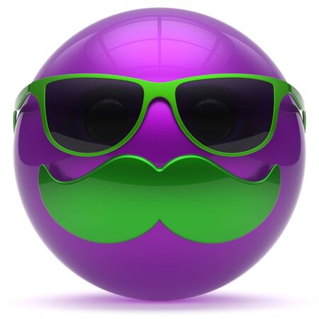 persona feliz: bigote bola emoticono de una cara de dibujos animados feliz alegre guapo persona icono de las gafas de sol caricatura sonrisa púrpura. gafas de risa alegre diversión esfera positiva avatar carácter sonriente. 3d aislado Foto de archivo