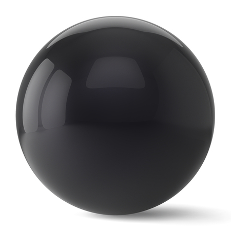 basic figure: Sphere button round black ball geometric shape basic circle solid figure simple minimalistic atom element single drop shiny glossy sparkling object blank balloon icon. 3d render isolated