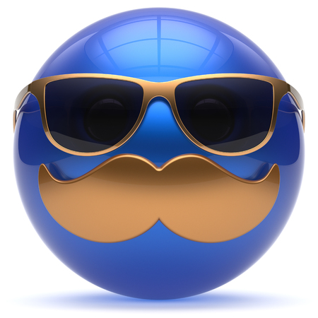 blue sphere: Smiling face cartoon mustache emoticon ball happy joyful handsome person blue gold caricature sunglasses icon. Cheerful eyeglasses laughing fun sphere positive smiley character avatar. 3d render Stock Photo
