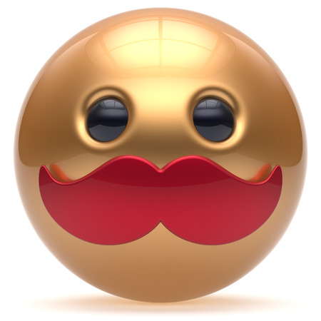 cheerful cartoon: Cartoon smiling mustache face cute emoticon ball happy joyful handsome person golden red caricature stylish icon. Cheerful laughing fun sphere positive smiley character avatar. 3d render isolated