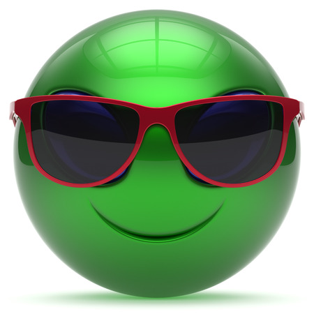 green face: Smiley alien face cartoon cute sunglasses head emoticon monster ball green red avatar. Cheerful funny smile invader person character toy laughing eyes joy icon concept. 3d render isolated