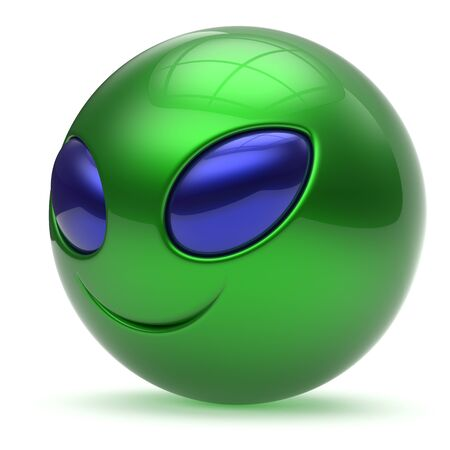 invader: Smiley face alien cartoon cute head emoticon monster ball green blue avatar. Cheerful funny smile invader person character toy laughing eyes joy icon concept. 3d render isolated