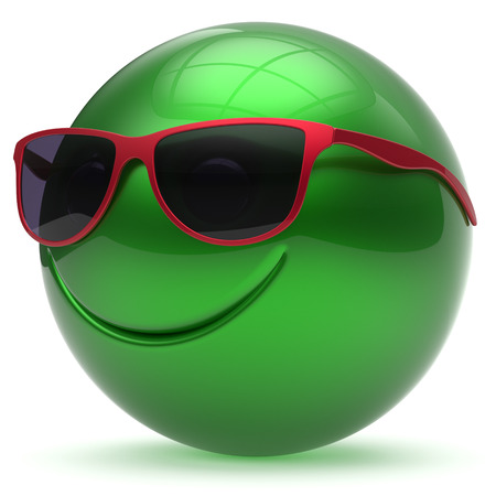 head toy: Smile face head ball cheerful sphere emoticon cartoon smiley happy decoration cute green red sunglasses. Smiling funny joyful person laughing joy character toy avatar. 3d render isolated Stock Photo