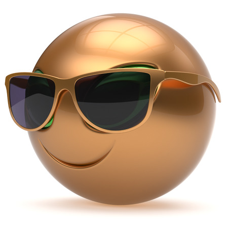 invader: Smiley alien face sunglasses cartoon cute head emoticon monster ball golden avatar. Cheerful funny smile invader person character toy laughing eyes joy icon concept. 3d render isolated Stock Photo
