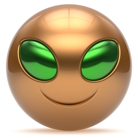 invader: Smiley alien face cartoon cute head emoticon monster ball golden green avatar. Cheerful funny smile invader person character toy laughing eyes joy icon concept. 3d render isolated