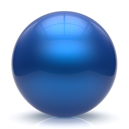 Sphere button ball blue round basic circle geometric shape solid figure simple minimalistic element single shiny glossy sparkling object blank balloon atom icon cyan. 3d render isolated