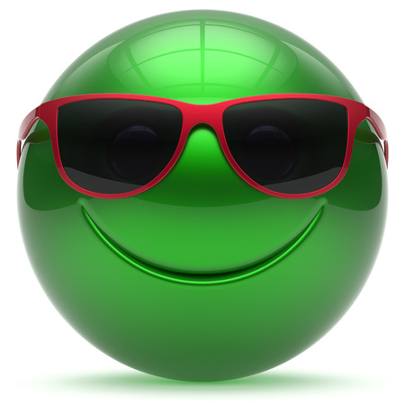 green smiley face: Smiling face head ball cheerful sphere emoticon cartoon smiley happy decoration cute green red sunglasses. Smile funny joyful person laughing joy character toy avatar. 3d render isolated