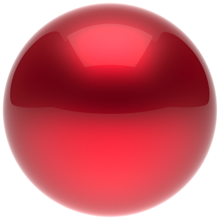 basic figure: Sphere ball button circle round basic solid bubble figure geometric shape minimalistic simple atom element single red scarlet shiny glossy sparkling object blank balloon icon. 3d render isolated Stock Photo