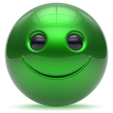 head toy: Smiling face head ball cheerful sphere emoticon cartoon smiley happy decoration cute green. Smile funny joyful person laughing joy character toy good avatar. 3d render isolated Stock Photo