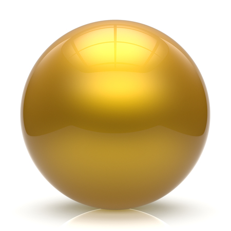 basic figure: Sphere button ball yellow round basic circle geometric shape solid figure simple minimalistic element single shiny glossy sparkling object blank balloon atom icon golden. 3d render isolated