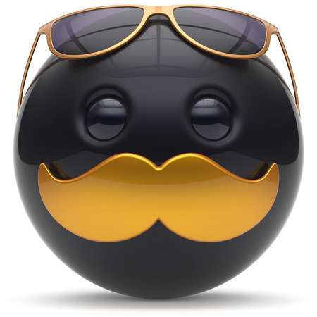 cheerful cartoon: Smiley mustache face emoticon ball happy joyful handsome cartoon person black golden sunglasses caricature. Cheerful eyeglasses laughing fun sphere positive character avatar. 3d render isolated