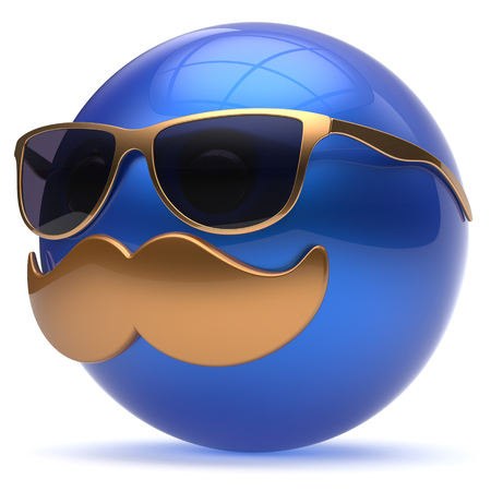 cheerful cartoon: Smiling cartoon mustache face emoticon ball happy joyful handsome person blue caricature sunglasses icon. Cheerful eyeglasses laughing fun sphere positive smiley character avatar. 3d render isolated