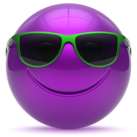 green and purple: Smiling face head ball cheerful sphere emoticon cartoon smiley happy decoration cute purple green sunglasses. Smile funny joyful person laughing joy character toy avatar. 3d render isolated Stock Photo