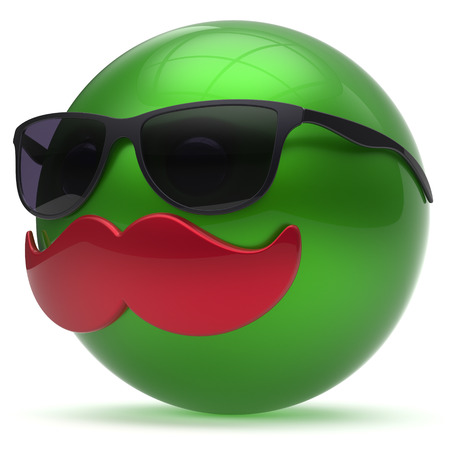 green face: Smiling cartoon mustache face emoticon ball happy joyful handsome person green sunglasses caricature icon. Cheerful eyeglasses laughing fun sphere positive smiley character avatar. 3d render isolated