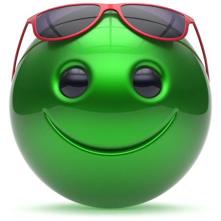 green smiley face: Smile face cheerful head ball sphere emoticon cartoon smiley happy decoration cute green red sunglasses. Smiling funny joyful person laughing joy character toy avatar. 3d render isolated