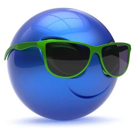 sunglasses: Smiley alien face sunglasses cartoon cute head emoticon monster ball blue green avatar. Cheerful funny smile invader person character toy laughing eyes joy icon concept. 3d render isolated