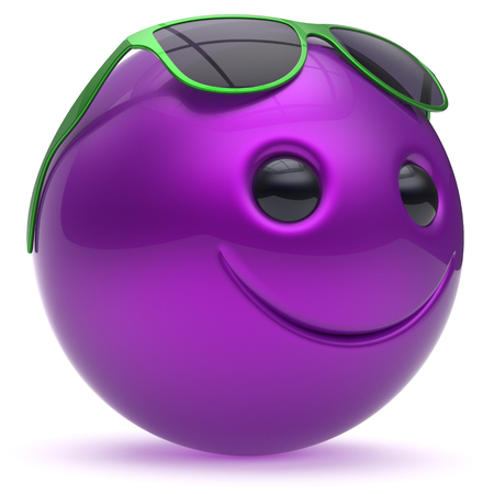 cheerful cartoon: Smiley face cheerful head ball sphere emoticon cartoon smile happy decoration cute blue purple sunglasses. Smiling funny joyful person laughing joy character toy avatar. 3d render isolated