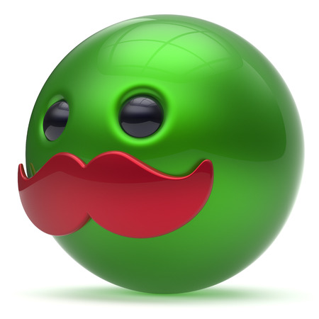 green smiley face: Smiling cartoon mustache face cute emoticon ball happy joyful handsome person green red caricature icon. Cheerful laughing fun sphere positive smiley character avatar. 3d render isolated
