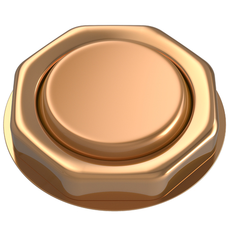 activate: Button golden luck casino power switch push down activate start turn on off action ignition electric design element metallic shiny blank gold yellow. 3d render isolated