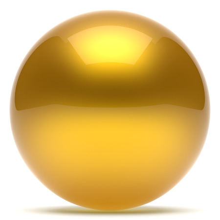 basic figure: Sphere ball geometric shape button round basic circle solid figure simple minimalistic element single yellow golden gold shiny glossy sparkling object blank balloon atom icon. 3d render isolated Stock Photo
