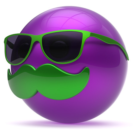 cheerful cartoon: Smiling mustache face cartoon emoticon purple ball happy joyful handsome person caricature sunglasses icon. Cheerful eyeglasses laughing fun sphere positive smiley character avatar. 3d render isolated