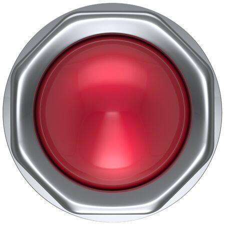 switch: Button red military game panic start turn off on action push down activate ignition power switch electric design element metallic shiny blank led lamp. 3d render isolated Stock Photo