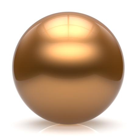 basic shapes: Sphere button ball gold round basic circle geometric shape solid figure simple minimalistic element single shiny glossy sparkling object blank balloon atom icon yellow golden. 3d render isolated Stock Photo