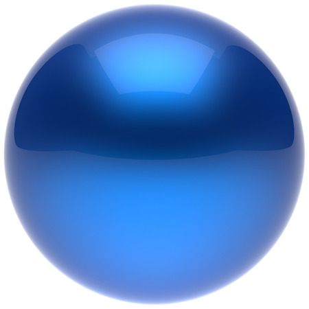 basic figure: Sphere ball button circle round basic solid bubble figure geometric shape minimalistic simple atom element single blue cyan shiny glossy sparkling object blank balloon icon. 3d render isolated