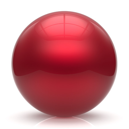 basic figure: Sphere button ball red round basic circle geometric shape solid figure simple minimalistic element single shiny glossy sparkling object blank balloon atom icon scarlet. 3d render isolated Stock Photo