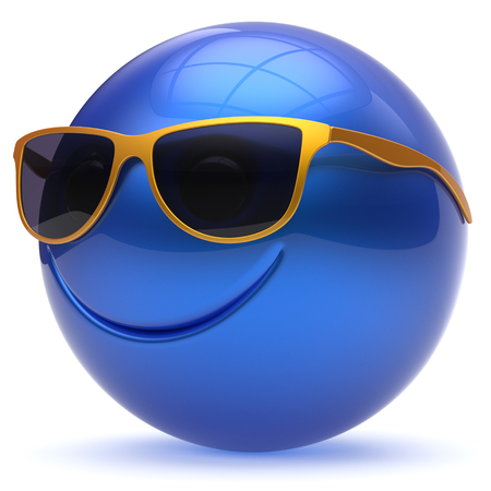cheerful cartoon: Smile face head ball cheerful sphere emoticon cartoon smiley happy decoration cute blue golden sunglasses. Smiling funny joyful person laughing joy character toy avatar. 3d render isolated