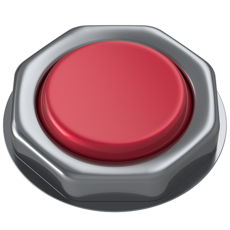 activate: Button red push down activate power switch start turn on off action ignition electric design element metallic shiny blank. 3d render isolated