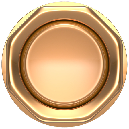 ignition: Button gold push down activate luck casino power switch start turn on off action ignition electric design element metallic shiny blank golden yellow. 3d render isolated