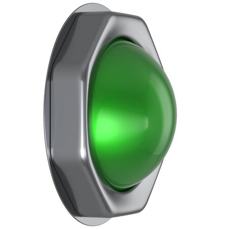 activate: Button green start turn off on action push down activate ignition positive power switch design element metallic shiny blank. 3d render isolated Stock Photo
