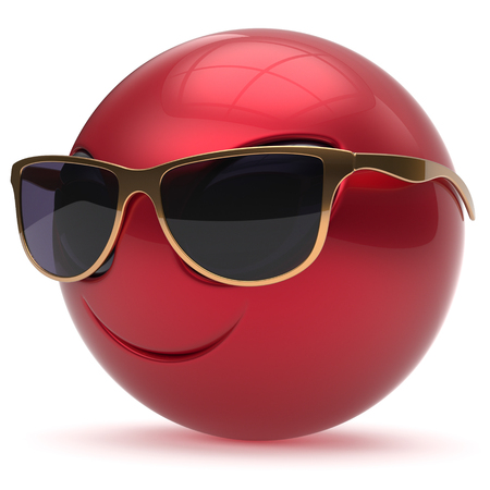 invader: Smiley alien face head cartoon cute sunglasses emoticon monster ball red gold avatar. Cheerful funny smile invader person character toy laughing eyes joy icon concept. 3d render isolated