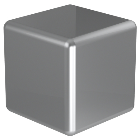 basic figure: Cube silver chrome geometric shape dice block basic box solid square brick figure simple minimalistic element single white shiny blank object. 3d render isolated