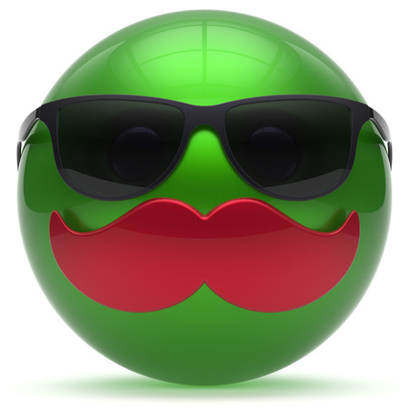 green face: Smiling cartoon mustache face green emoticon ball happy joyful handsome person sunglasses caricature icon. Cheerful eyeglasses laughing fun sphere positive smiley character avatar. 3d render isolated