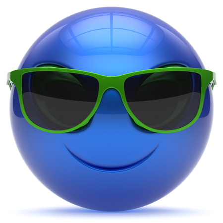 invader: Smiley head emoticon alien face sunglasses cartoon cute monster ball blue green avatar. Cheerful funny smile invader person character toy laughing eyes joy icon concept. 3d render isolated Stock Photo