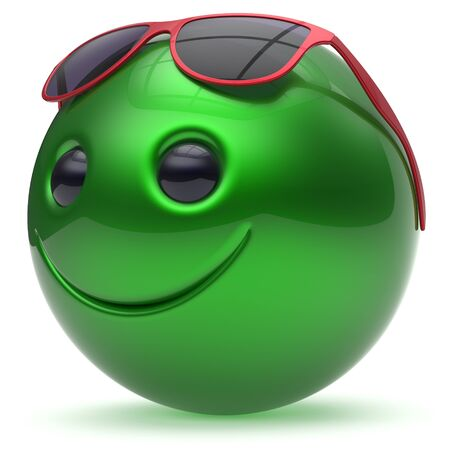 green face: Smile face green cheerful head ball sphere emoticon cartoon smiley happy decoration cute red sunglasses. Smiling funny joyful person laughing joy character toy avatar. 3d render isolated Stock Photo