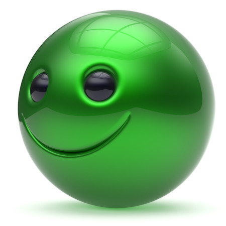 green smiley face: Smiling face green head ball cheerful sphere emoticon cartoon smiley happy decoration cute. Smile funny joyful person laughing joy character toy good avatar. 3d render isolated