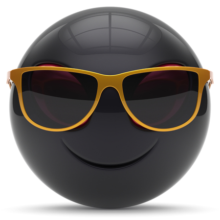 invader: Smiley head emoticon alien face sunglasses cartoon cute monster ball black golden avatar. Cheerful funny smile invader person character toy laughing eyes joy icon concept. 3d render isolated