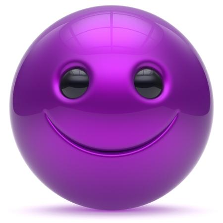 persona feliz: Cara de la sonrisa bola cabeza púrpura alegre esfera de dibujos animados emoticon sonriente feliz linda decoración azul. Sonriendo persona alegre risa divertido juguete carácter alegría buena avatar. 3d aislado