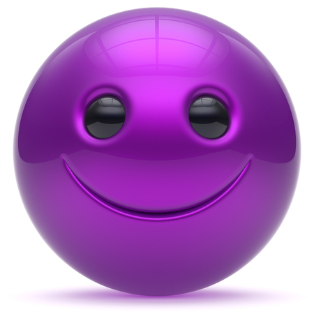 cheerful cartoon: Smile face head ball purple cheerful sphere emoticon cartoon smiley happy decoration cute blue. Smiling funny joyful person laughing joy character toy good avatar. 3d render isolated Stock Photo