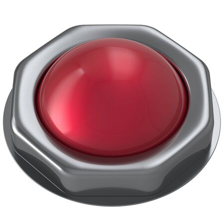 activate: Button red start turn off on action push down activate ignition negative power switch design element metallic shiny blank. 3d render isolated