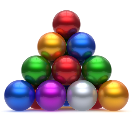 glossy: Pyramid corporation sphere ball red top order leadership element teamwork hierarchy stable group business concept multicolor different colors colorful shiny sparkling icon. 3d render isolated